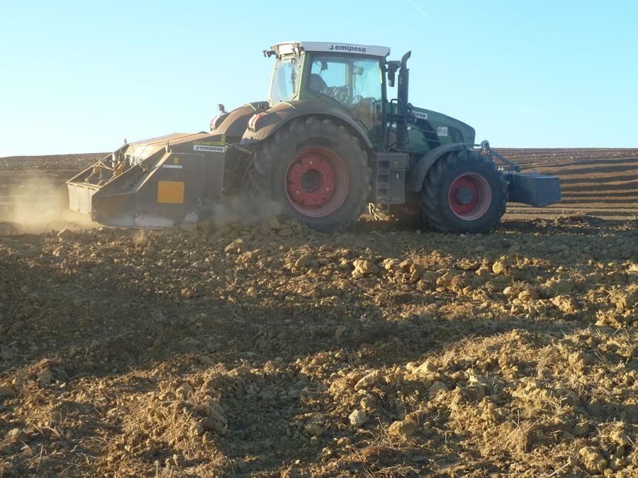 Preparación de tierra para plantar trufa negra, tuber melanosporum
