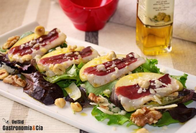 Ensalada de jamón y pecorino trufado
